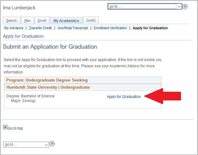 Apply for Graduation link